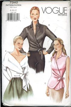Vogue Pattern, Classic Blouse Pattern, Sewing Notions, Size Womens Wrap Around Blouse, Vogue Designs Vogue Patterns, Blouse Patterns, Wrap Shirt, Wrap Blouse, Sewing Notions, Vintage Sewing Patterns, Pattern Sewing, Top Pattern, Size 14