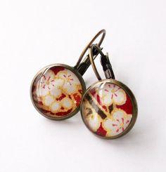 Earrings Brass Japanese Chiyogami Washi. Crimson Sakura on Etsy, $20.00