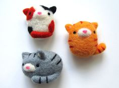 Cat Magnets, Needle Felted Cat Magnets, Felt Cat Magnets, Cat Fridge Magnets, Cat Magnet Set, Cute Cat Gifts, Cat Lover Gift, Cute Magnets