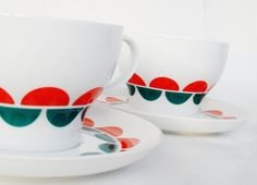 Retro soup cups and saucers Thomas porcelain vintage by Coollect