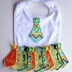 Baby Boy Monthly Milestone Bib Tie Set One white cotton bib with 13 interchangeable handmade embroidered monthly milestone ties. Ties: 0