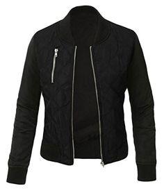 ouxiuli Women's Lightweight Full Zipper Warm Short Coat Slim Fit Jacket Black M