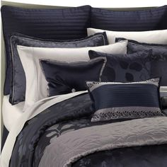 Our new bed set! I love it so much! Navy blue and silver are gorgeous!