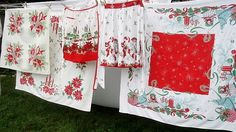 Clothesline full of vintage Christmas linens!