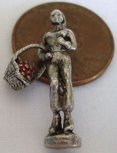 1960's Vintage Sterling Enamel Girl with a Basket of Apples Charm from princesscharming on Ruby Lane