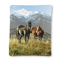 Horses and Snowy Mountains! =) Cuddle up in the winter or those cool summer nights with this soft and warm Horse Fleece Throw Blanket by American Heritage Collection. 50 x 60 inches.