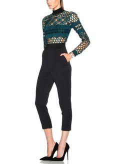 Sexy Women's Green Cutwork Lace Jumpsuit Elegant Workwear Runway Clothes Jm2