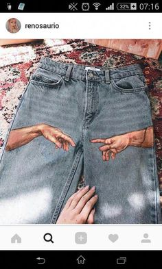 Arts And Crafts Style Furniture Info: 8589336119 - Frauenhose Diy Jeans, Painted Jeans, Painted Clothes, Diy Fashion, Ideias Fashion, Fashion Outfits, Diy Clothing, Custom Clothes, Denim Art