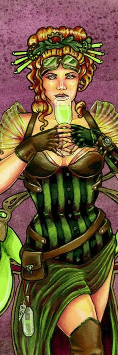 "Absinthe Fairy La Fee Verte Steampunk Bookmark 2""x6"" Gothic Fantasy Pin Up"