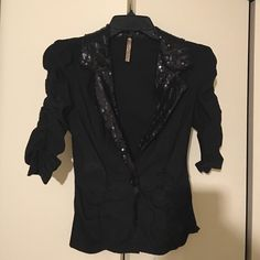 Black blazer with beautiful sequence Black mid sleeve blazer with sequence around the collar Monaco Jackets & Coats Blazers