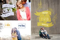 super cute engagement & save the date photo overlays by Design Aglow