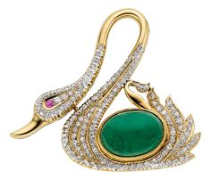 Diamond, Emerald, Ruby, Gold Swan Brooch. The brooch features an oval-shaped Emerald cabochon measuring 13.60 x 9.95 x 7.00 mm and weighing approximately 7.00 carats, enhanced by single-cut Diamonds weighing a total of approximately 0.95 carat, accented by a Ruby cabochon measuring 1.55 mm, set in 14k Gold. Gross weight 9.70 grams. Dimensions: 1-11/16 inches x 1-7/16 inches