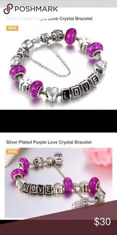 Silver plated purple love bracelet NWOT! Silver plated purple love bracelet Jewelry Bracelets