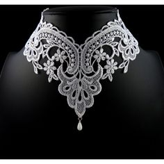White Lace Choker Necklace Romantic Victorian Collar Elegant,... ($32) ❤ liked on Polyvore featuring jewelry, necklaces, bridal jewellery, floral necklace, victorian choker, lace choker necklace and white choker necklace