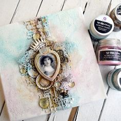 Mezzanotteskapar- Mixed Media made by Katja: februari 2018 Canvas Collage, Mixed Media Canvas, Projects, Painting, Log Projects, Blue Prints, Painting Art, New Media Art, Paintings