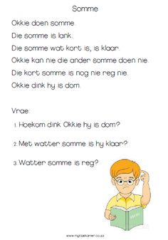 Begripslees Gr1kw2 VB1 First Grade Math Worksheets, Reading Worksheets, Preschool Worksheets, Preschool Learning, Preschool Crafts, Afrikaans Language, Learn Another Language, Class Activities, Kids Education