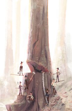Redwood Loggers by Travis Ruiz An Illustration inspired by vintage photography