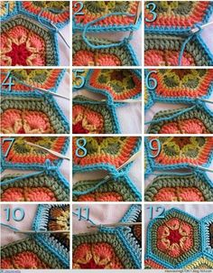 Super Ideas For Crochet Granny Square Blanket Tutorial African Flowers Crochet Unique, Crochet Diy, Crochet Basics, Love Crochet, Crochet Motif, Crochet Crafts, Crochet Stitches, Crochet Projects, Crochet Patterns