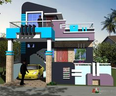 DK single floor small home design House Outer Design, House Front Wall Design, Village House Design, House Design Photos, Small House Design, Modern House Design, Modern Houses, Front Elevation Designs, House Elevation