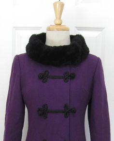 Vintage 1960s Purple Wool Russian Faux Fur by FashionablyGreat, $175.00