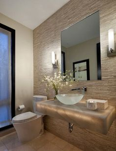 It is undeniable that powder room is the considerable part of your bathroom. You need the perfect design of powder room because it also affects the comfort that you feel the moment you are in the bathroom. Hence, below are ten ideas to remodel your p Bad Inspiration, Bathroom Inspiration, Modern Powder Rooms, Powder Room Design, Design Room, Bathroom Interior, Bathroom Sinks, Master Bathroom, Design Bathroom