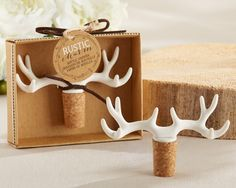 From the hunting lodge to the reception hall, Rustic Charm Antler Bottle Stopper should be placed at the table! The cork bottle stopper is topped with resin antlers. Place them at reception tables for. Country Wedding Favors, Wedding Favours, Wedding Decor, Party Favors, Wedding Ideas, Wedding Stuff, Shower Favors, Wedding Invitations, Yard Wedding