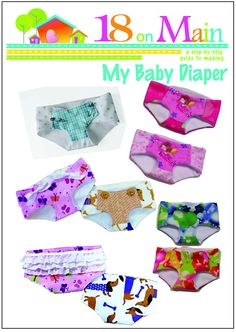 18 On Main My Baby Diaper Doll Clothes Pattern 15 inch American Girl Dolls | Pixie Faire