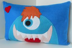 Pillow Pal Appliqued Felt MONSTER-GOOBY Turquoise & Blue Monster-Coaster