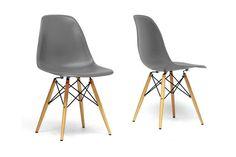 Baxton Studio Azzo Grey Plastic Shell Chair - Set of 2