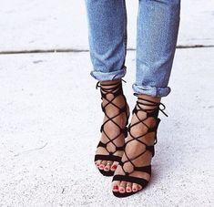 Shoes: sandals black sandals black lace up black detail heels sandals laced up heels laced high