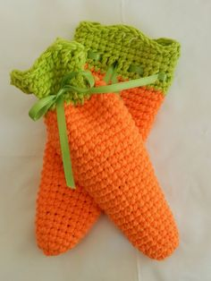 Crocheted Carrot Treat Bags/ Carrot Bags/ Easter by AprilsCrafts