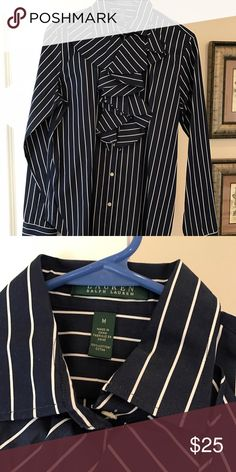 New Ralph Lauren blouse Ralph Lauren blouse. New with tags. Navy and white pinstripe. Ralph Lauren Tops Blouses