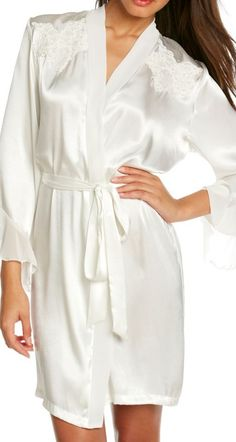 This robe option with chiffon trim and beading is feminine and chic.