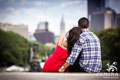 Intimate engagement photos; Philadelphia Art Museum Engagement Session
