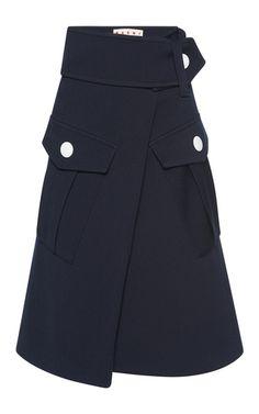 Medium marni navy wool cargo skirt