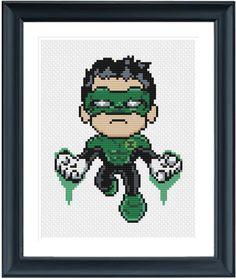 Green Lantern Cross Stitch Pattern  Instant por LaEsquinaDeLuna