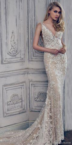 Sheath Wedding Dress : Calla Blanche spring 2017 bridal sleeveless deep v neckline full embellishment e