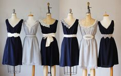 mismatched bridesmaid dresses , gray and navy , bridesmaid , party, wedding by AtelierSignature on Etsy