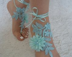 Free Ship royal blue sandals lace sandal beach by UnionTouch Barefoot Sandals Wedding, Beach Wedding Shoes, Barefoot Beach, Blue Wedding, Navy Blue Sandals, Bare Foot Sandals, Anklet, White Lace, Royal Blue