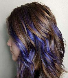 hair Highlights colored - 25 Cutest Peekaboo Highlights You'll See in 2020 Peekaboo Hair Colors, Purple Hair Highlights, Hair Color Purple, Cool Hair Color, Colored Highlights, Purple Hair Styles, Colored Streaks In Hair, Blue Peekaboo Highlights, Curly Purple Hair
