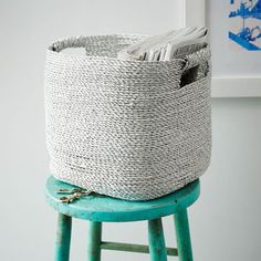 Metallic Woven Storage Basket | west elm (use under side tables)