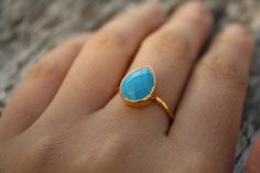 Turquoise Ring  Teardrop Shape  Stacking Ring by OhKuol on Etsy, $57.00.  I'll take this in a size 8 please, @Mathew Rhodes Corthell!