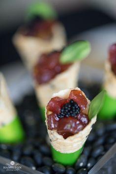 Asian Tuna Tartare Cornets with Black Roe Caviar by Strawberry Banke Events #strawberrybankeevents #boutiquecatering