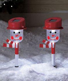 2 Solar Outdoor Snowman Christmas Decoration Outside Outdoor Lawn Garden   eBay