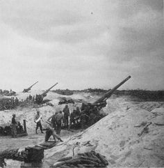 155mm Gun M1 of US 420th Field Artillery Group set up on Keise Shima near Okinawa, Japan, April, 1945. #WWII