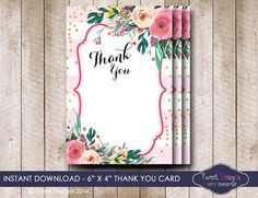 Watercolor Floral THANK YOU Card Instant by TweetPartyPrintables