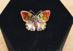 Pretty Vintage Butterfly Orange and Yellow by Beadazzle27 on Etsy, $8.00