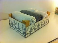 Recycled fruit box with towels