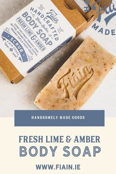 Irish made the old fashioned way using the cold process method. This handcrafted body soap is packed with skin loving ingredients such as pure organic shea butter to nourish and moisturise, ground coffee for it's antioxidants, whole oats & poppy seeds for a gentle scrub. Infused with our signature cologne blend of fresh lime & amber. Our soaps are vegan friendly & never tested on animals. Fragrance oils are paraben & phthalate free. #sheabuttersoap #handmadesoap #irishmadesoap #luxurysoap