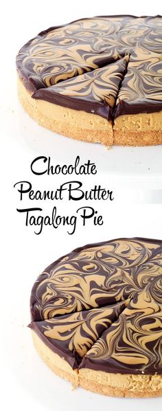 Chocolate Peanut Butter Tagalong Pie - my favourite Girl Scout Cookie in PIE form! @Sweetest Menu